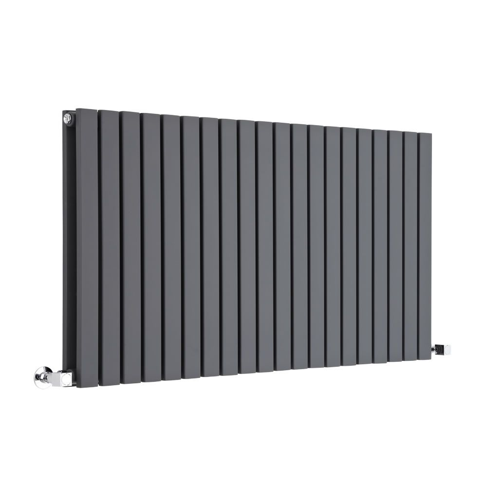 "Sloane - Anthracite Horizontal Double Flat Panel Designer Radiator 25"" x 46 1/2"""