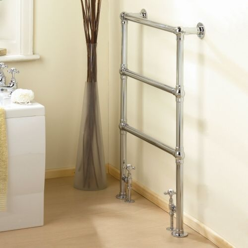 Countess traditional Chrome hydronic heated towel warmer 37 inch x 26 inch.