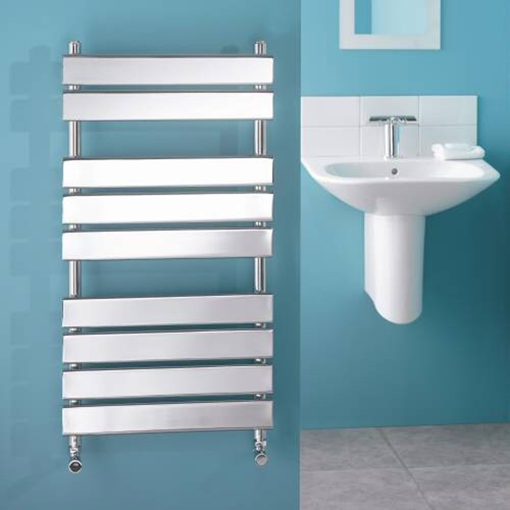 "Signelle Designer Flat Panel Chrome Towel Radiator Rail 37.4"" x 19.7"" for Closed Loop Systems"