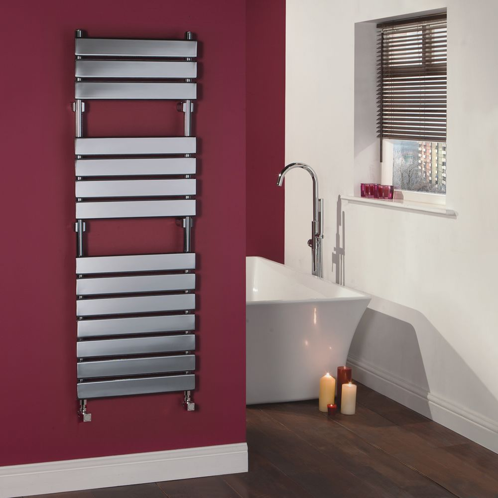 Signelle Designer Flat Panel Chrome Plated Towel Radiator Rail 59 inch x 19.5 inch for Closed Loop Systems