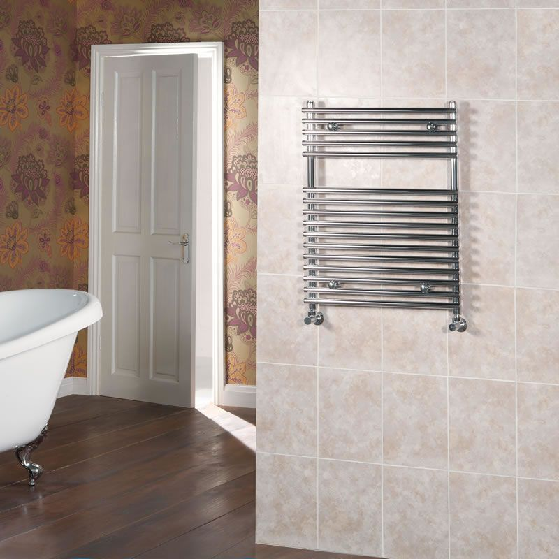 "Flat Bar on Bar Towel Rail 30"" x 18"" - Chrome Finish"