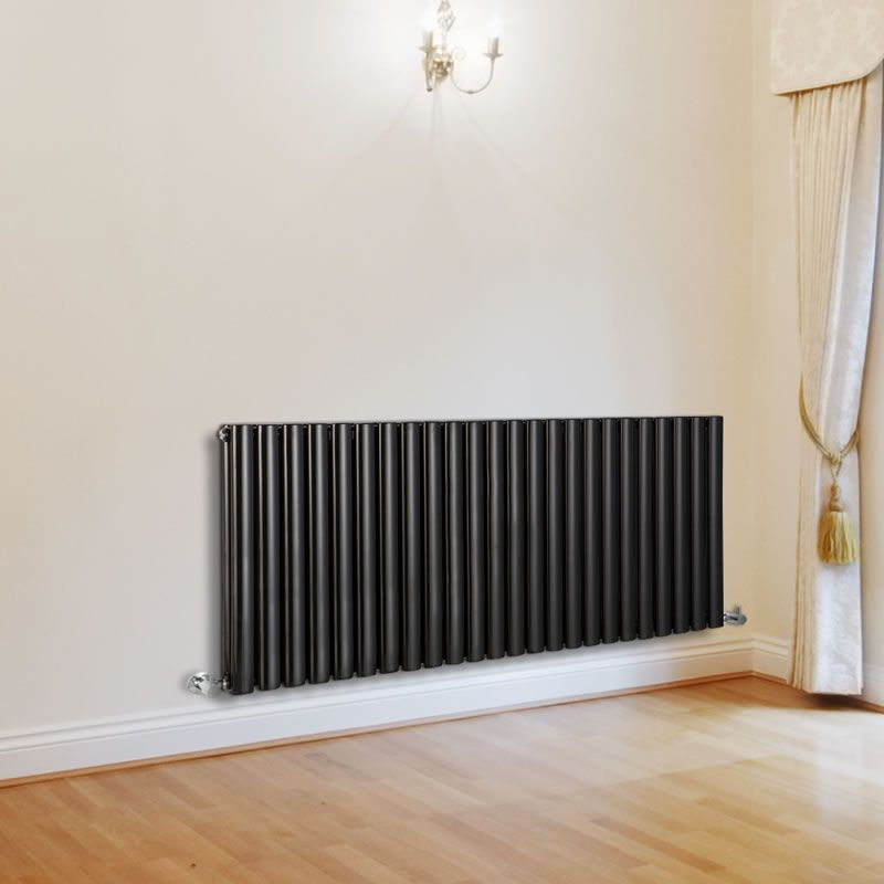 "Revive - Luxury Black Horizontal Designer Double Radiator 25"" x 55½"" for Closed Loop Systems"