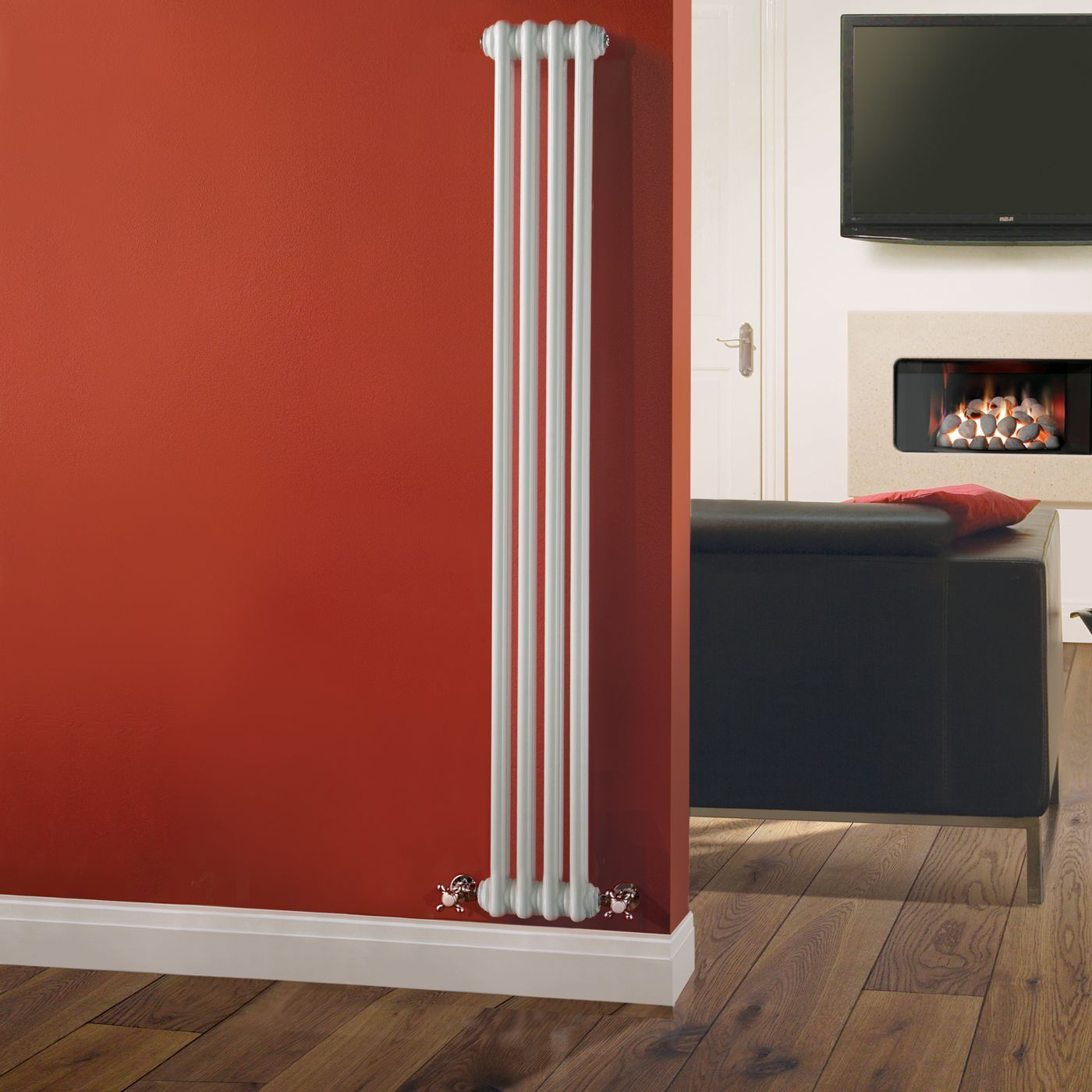 "Traditional 4 x 2 Column Radiator Cast Iron Style 59"" x 8"" - White Powder Coat Finish"