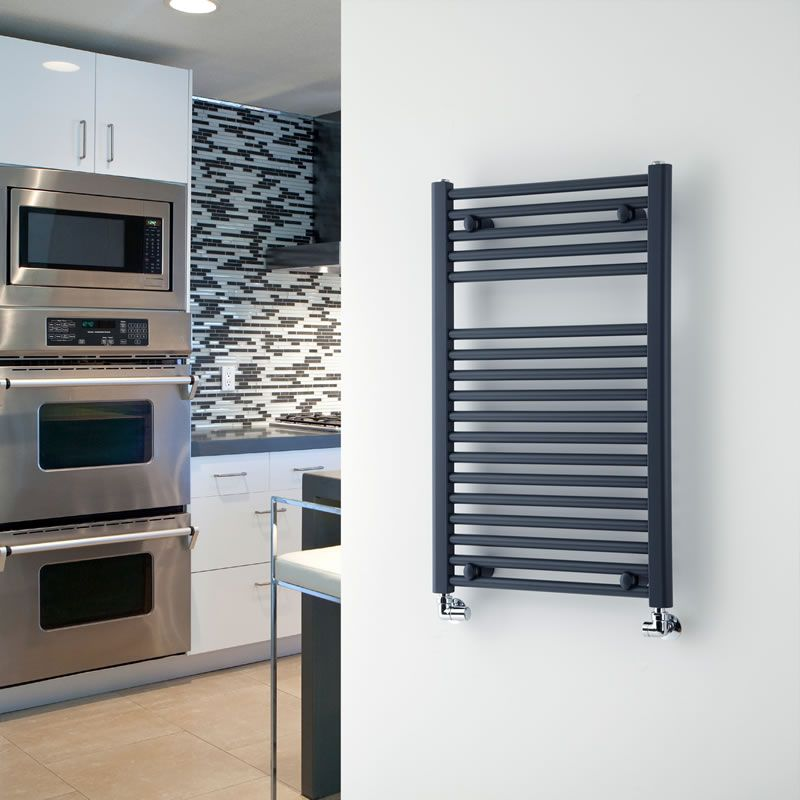 "Anthracite Flat Heated Towel Warmer 31.5"" x 19.7"""