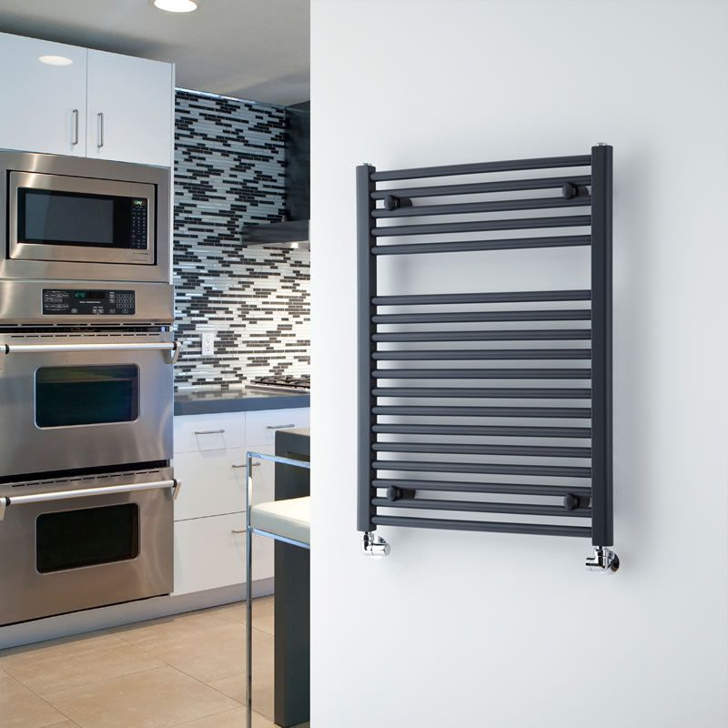 "Anthracite Flat Heated Towel Warmer 31.5"" x 23.6"""