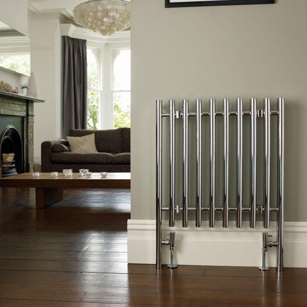 "Vertice Designer Heated Towel Radiator Rail 31.5"" x 23.5"" - Chrome Plate Finish"