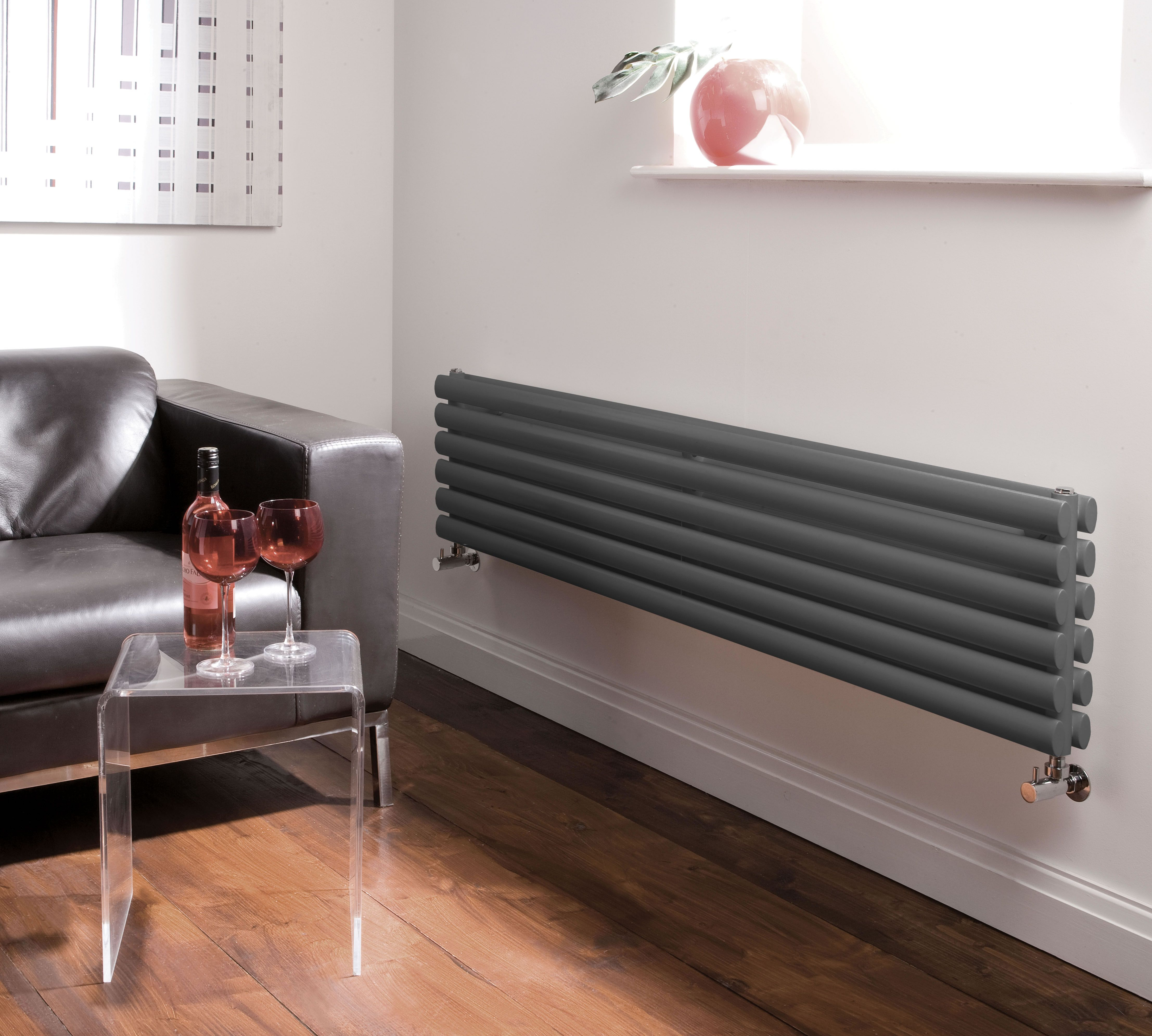 "Revive - Luxury Anthracite Horizontal Designer Double Radiator 14"" x 63"""