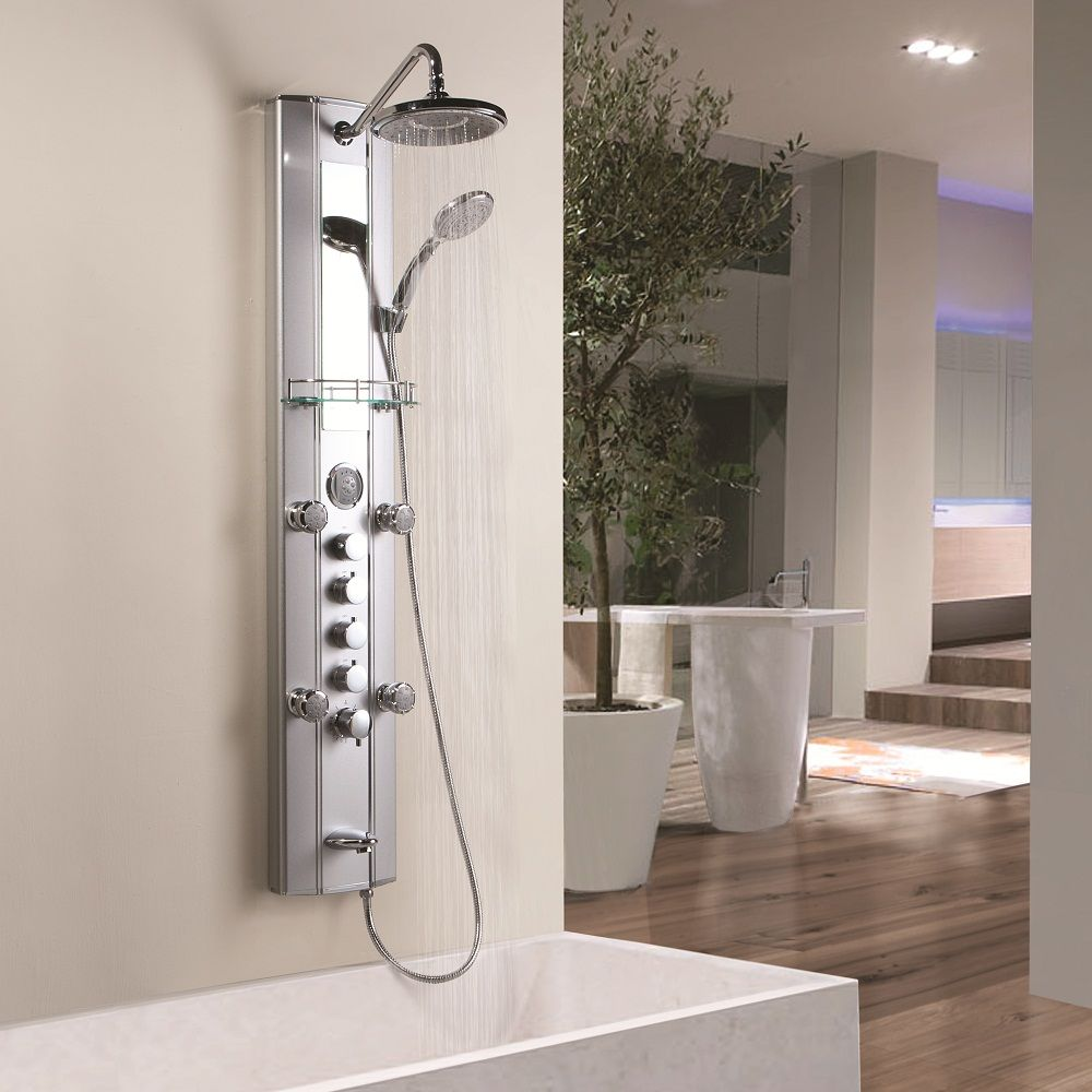 Aluminum panel tower fixed overhead shower handset body for Shower tower with body jets