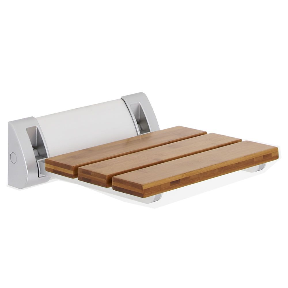 Bamboo Folding Shower Seat Wide Base