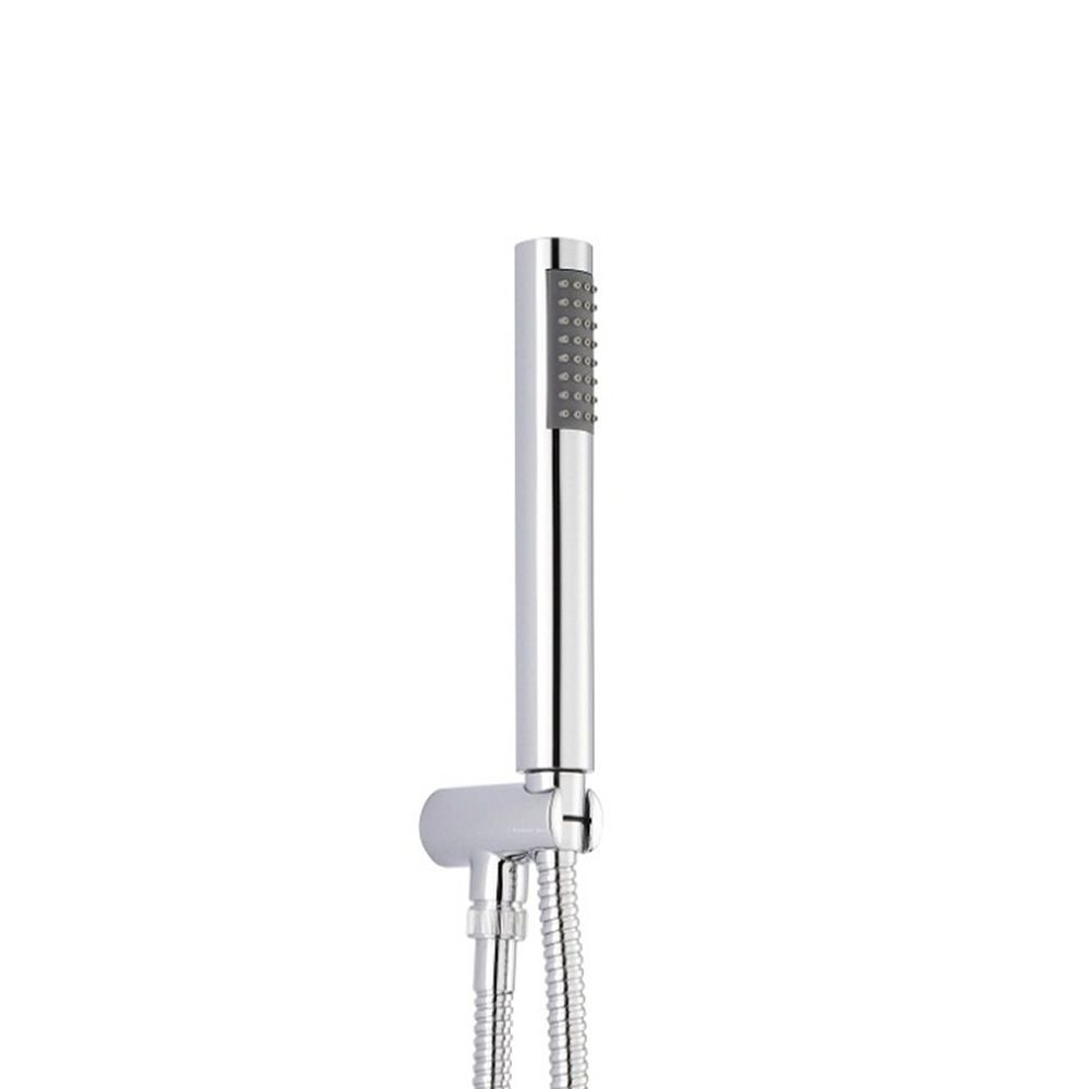 Round Shower Kit with Integrated Outlet Elbow Parking Bracket - Chrome Plated Brass
