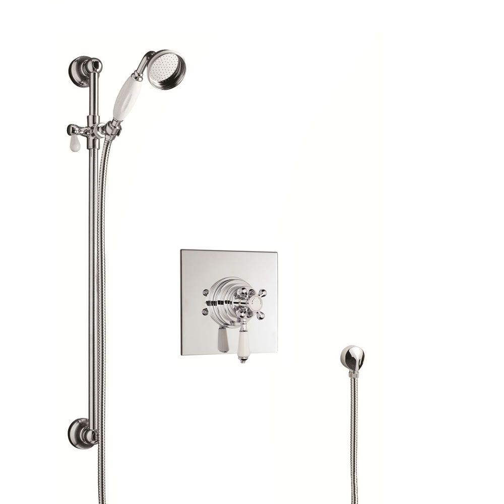 Concealed shower faucet with Traditional slider rail kit