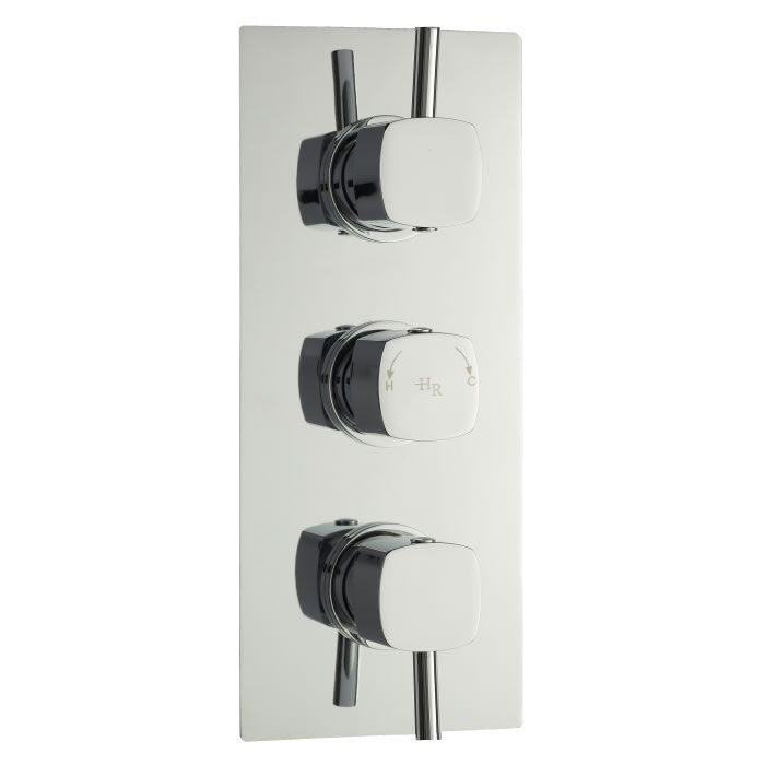 Kia-Jule Triple Concealed Thermostatic Chrome Shower Faucet Valve 2 Outlet Options