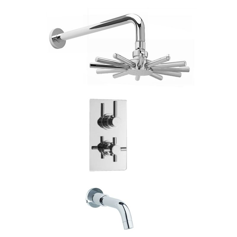 Tub shower faucet, valve with built-in divertor, head, spout