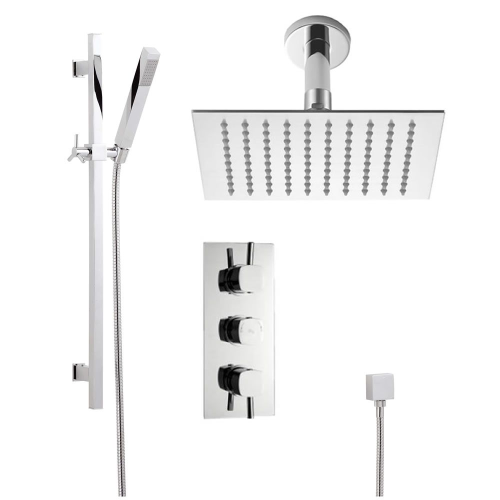 "Chrome Square Slide Rail Kit, Chrome Square Thermostatic Triple Shower Valve and 8"" Ceiling Head"