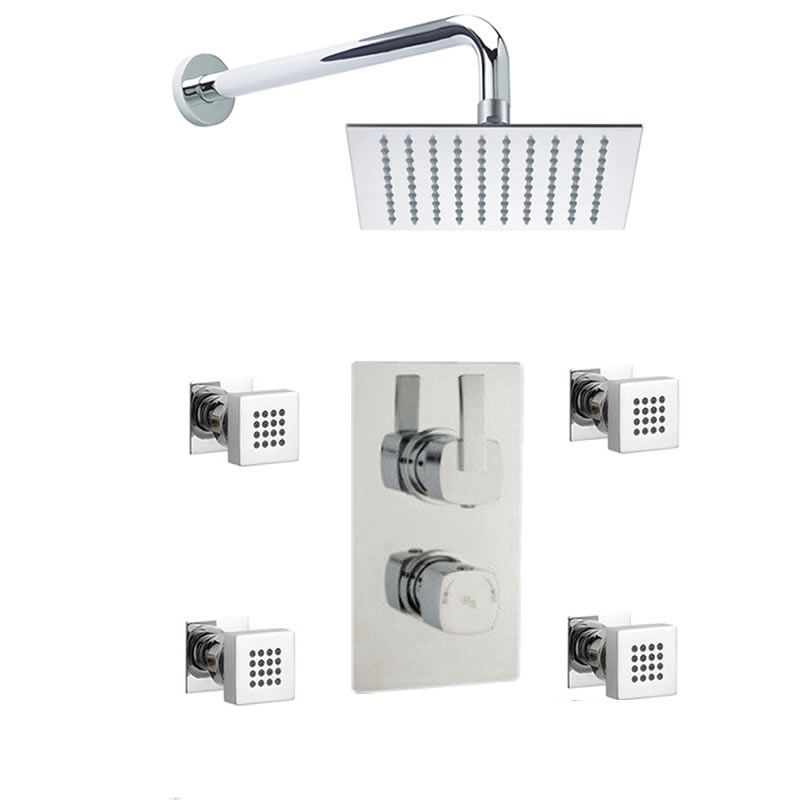 Arco Twin Concealed Thermostatic Shower Valve With Diverter, Sheer Fixed Head And Body Jets - Chrome Finish