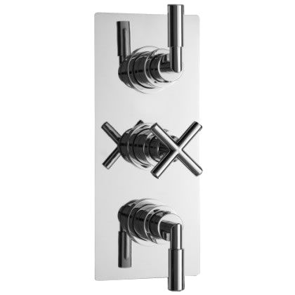 Helix Concealed Thermostatic Triple Shower Faucet Valve 2 Outlet Options - Chrome Plated Brass