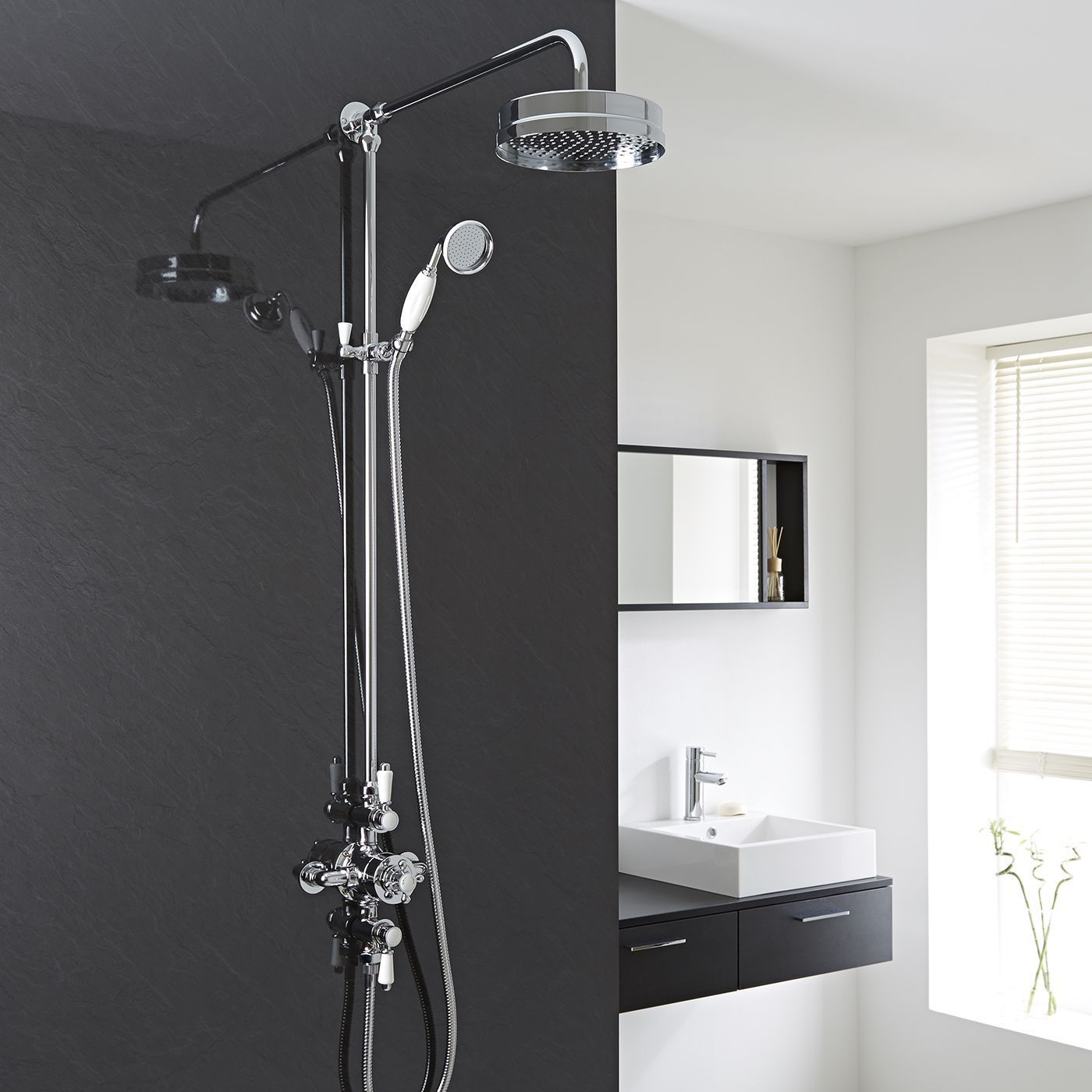 Traditional Triple Exposed Thermostatic Shower Valve with Luxury Rigid Riser