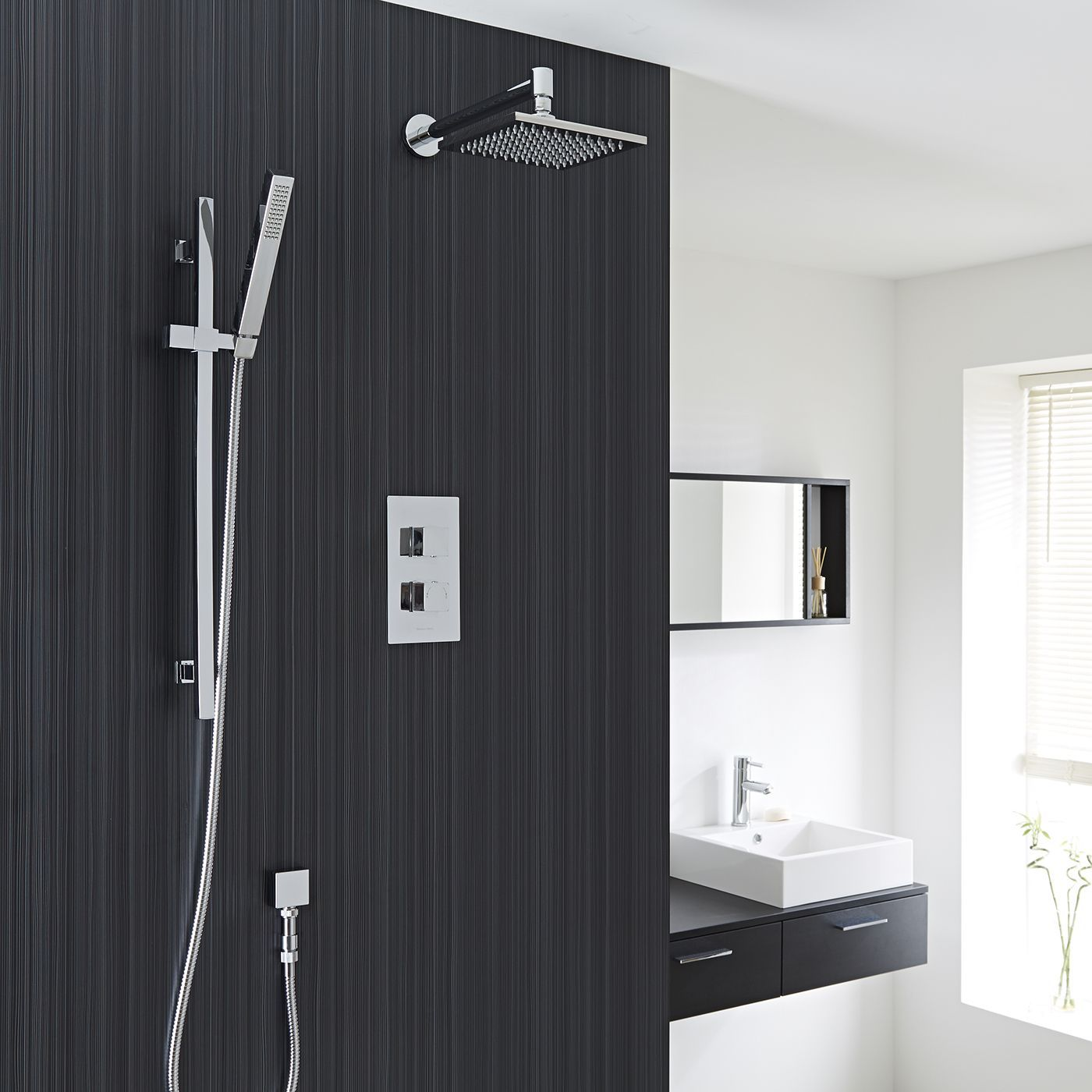 "Thermostatic Shower Valve With Divertor 2 Outlets, 8"" Square Head And Slide Rail Kit"