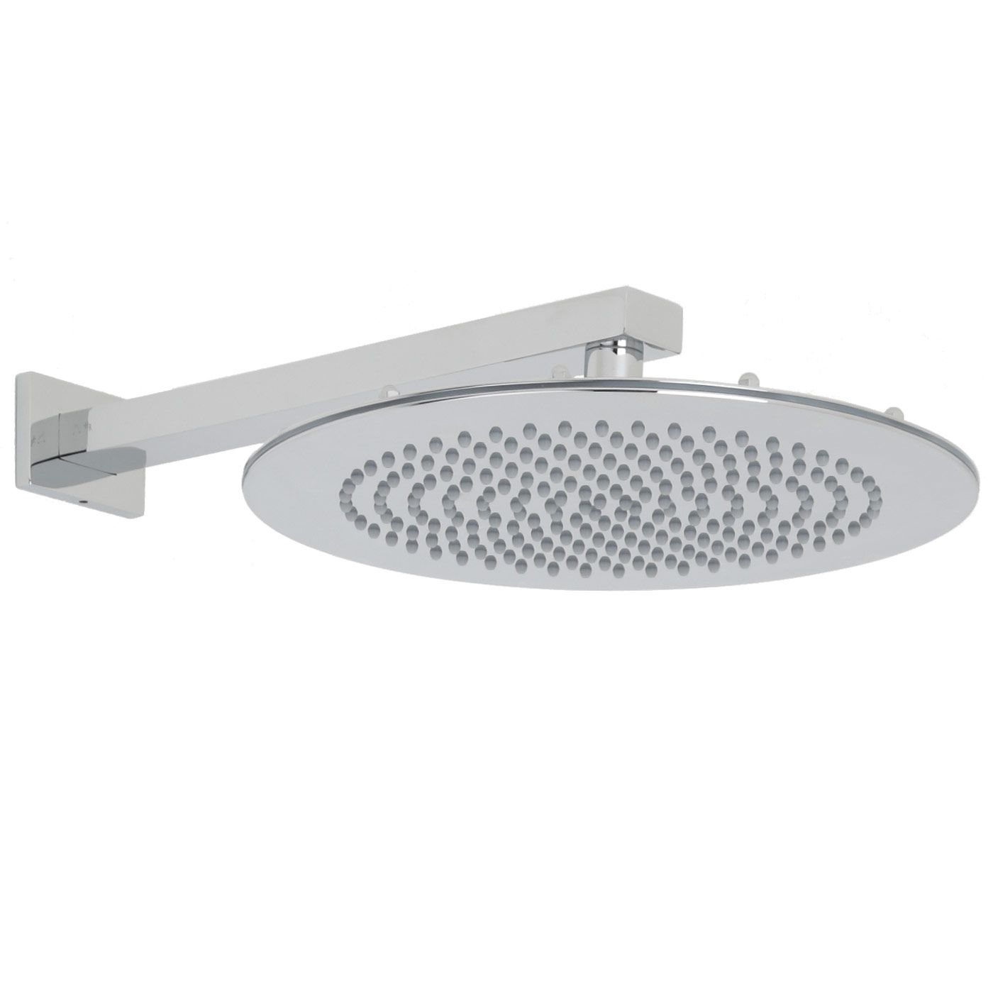 "12"" Round Shower Head with Rectangular Wall Arm"