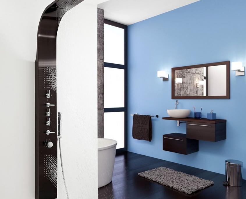 dark grey waterfall shower panel