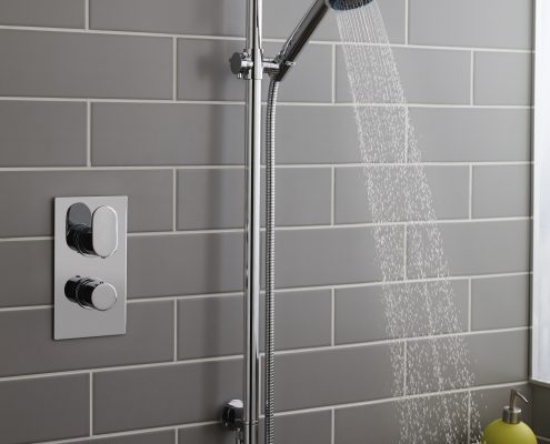 grey tile shower wall