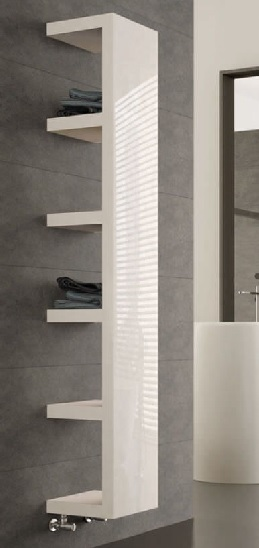 white hot water radiator with in-built shelves