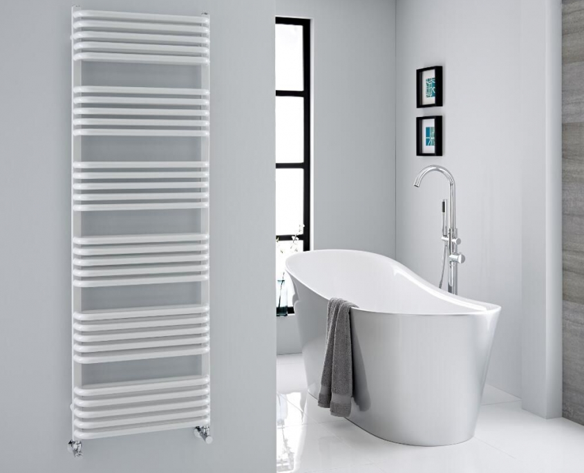 modern white heated towel rack