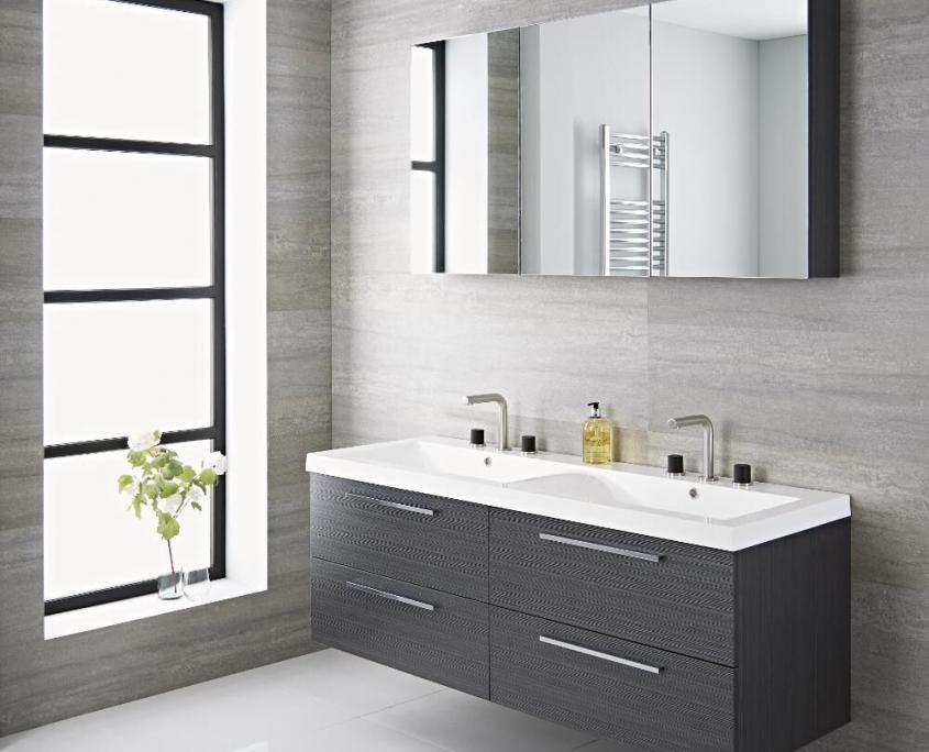 gray double vanity unit