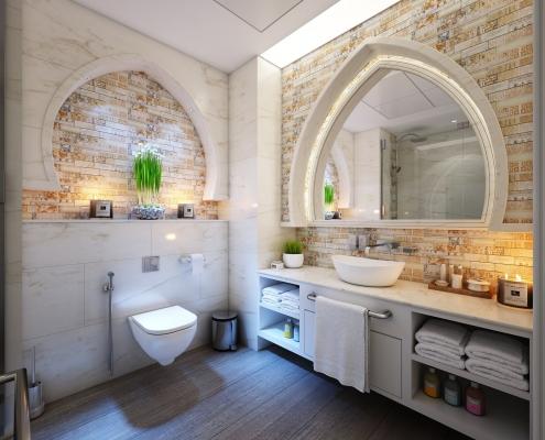 bathroom tiling arch mirror