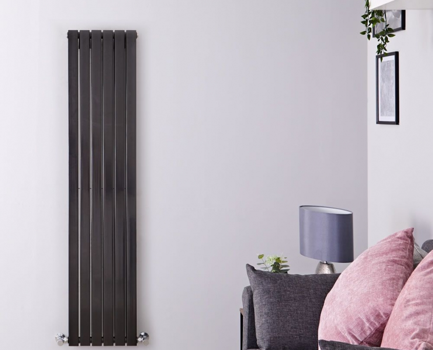sloane black vertical double flat panel radiator