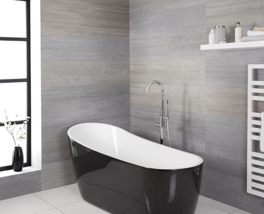 black acrylic freestanding tub