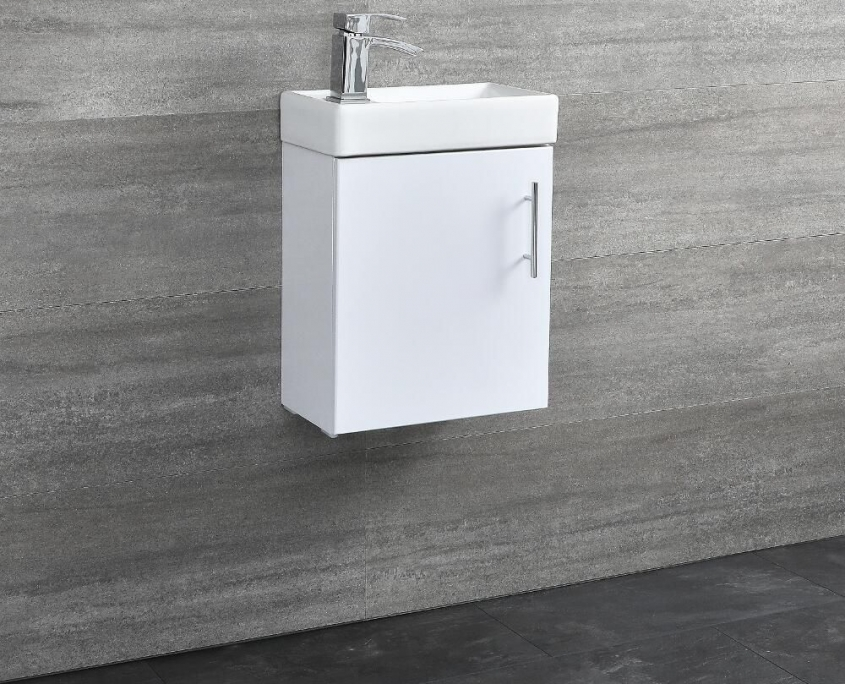 white wall hung vanity unit