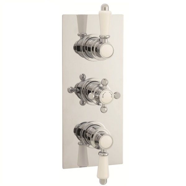 Traditional Two-Way (Triple) Concealed Thermostatic Shower Valve 2 Outlet Options - Chrome Finish
