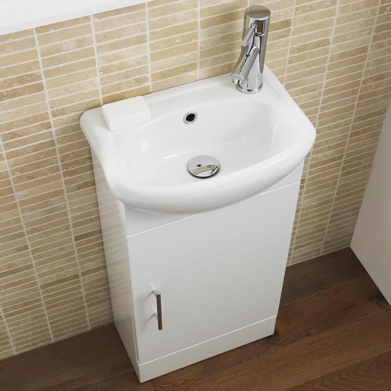 "White Small Floorstanding Vanity Vessel Sink 16"""