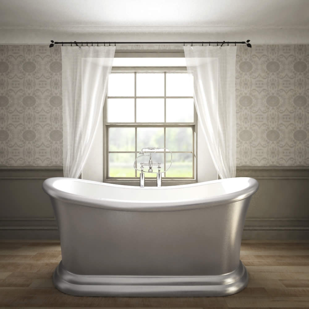 """Traditional Silver Freestanding Double Ended Slipper Bath Tub 65"""""""