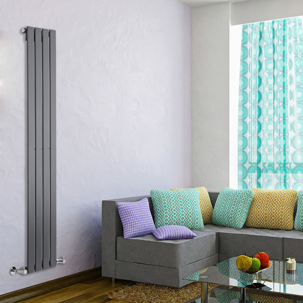 "Delta - Anthracite Vertical Single Slim-Panel Designer Radiator - 63"" x 11"""