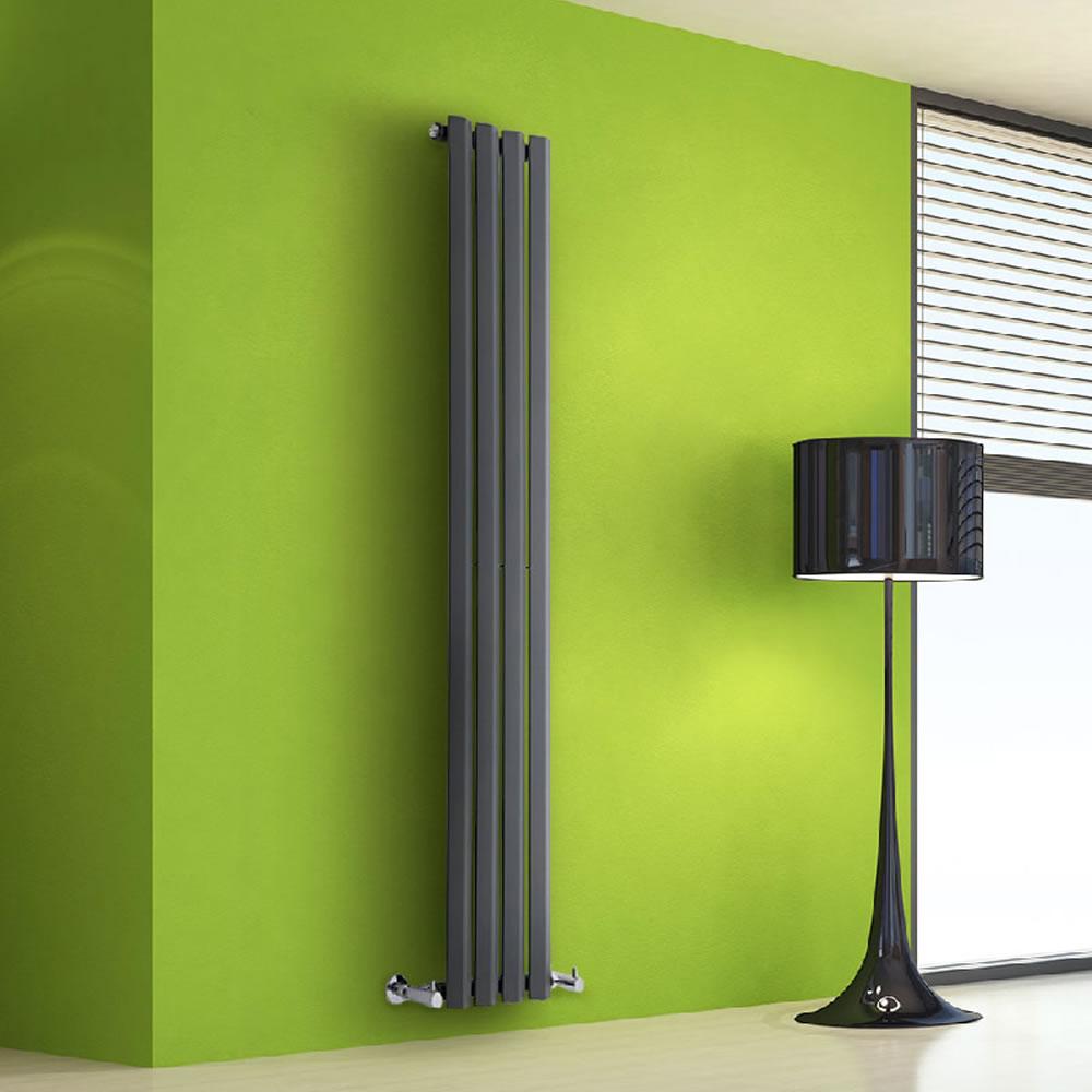 "Edifice - Anthracite Vertical Single-Panel Designer Radiator - 63"" x 11"""