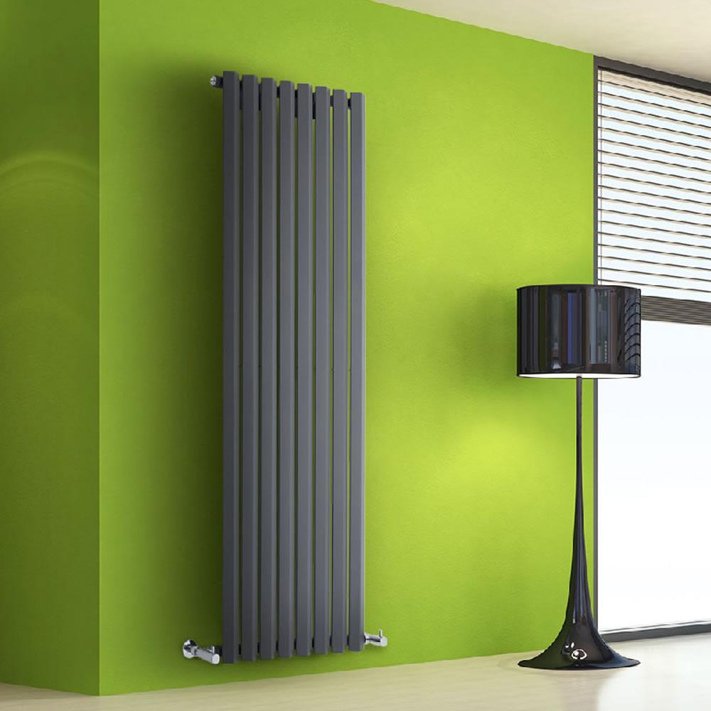 "Edifice - Anthracite Vertical Single-Panel Designer Radiator - 63"" x 22"""