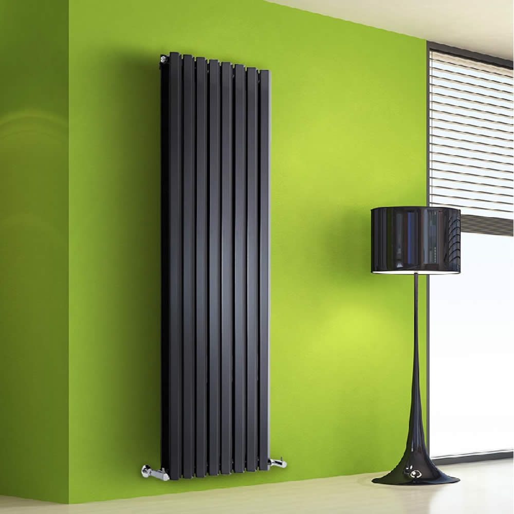 "Edifice - Black Vertical Double-Panel Designer Radiator - 63"" x 22"""