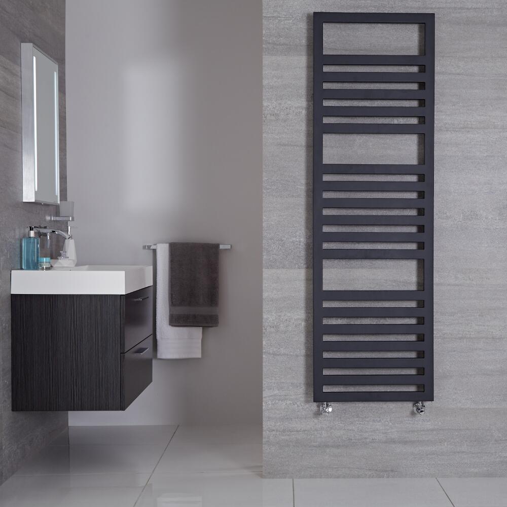 "Firenze - Anthracite Hydronic Designer Towel Warmer - 63"" x 19.75"""