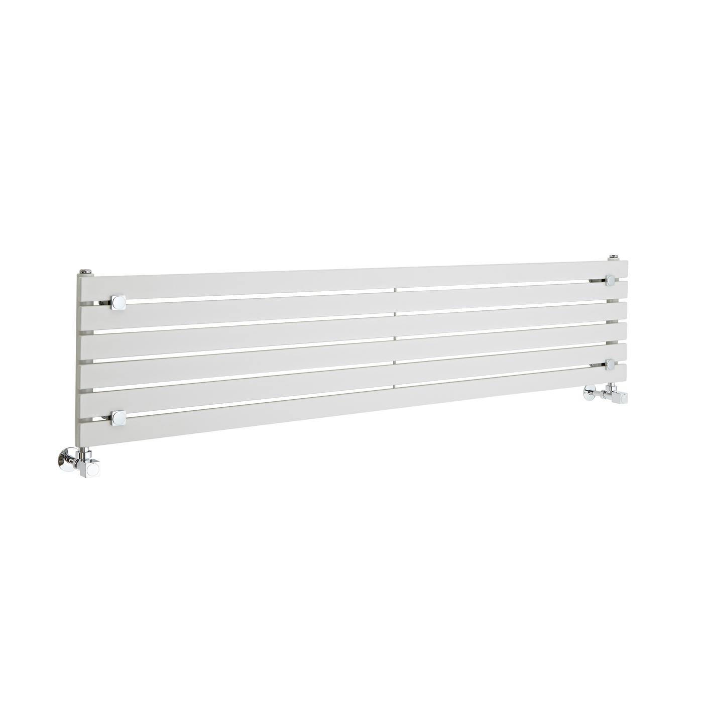 "Sloane - White Horizontal Single Flat-Panel Designer Radiator - 14"" x 63"""