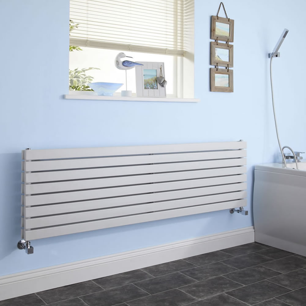 "Sloane - White Horizontal Double Flat-Panel Designer Radiator - 18.5"" x 63"""