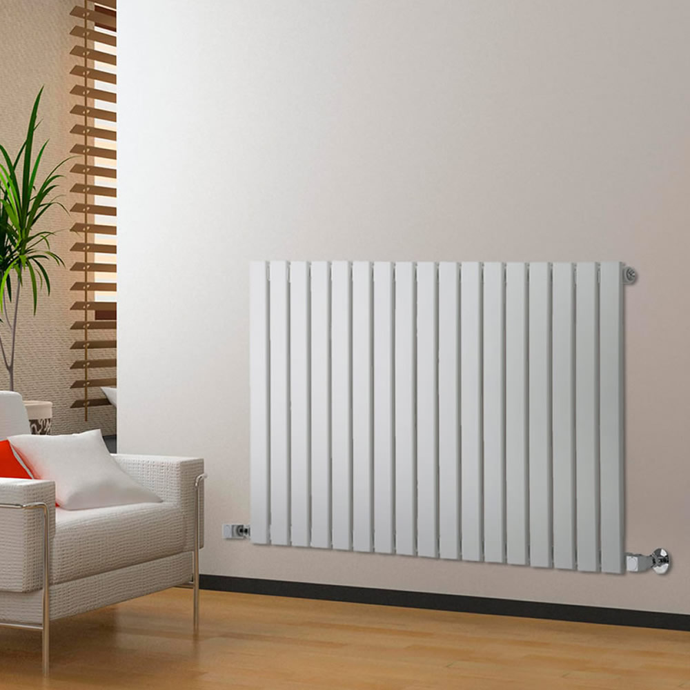 "Delta - White Horizontal Single Slim-Panel Designer Radiator - 25"" x 46.75"""