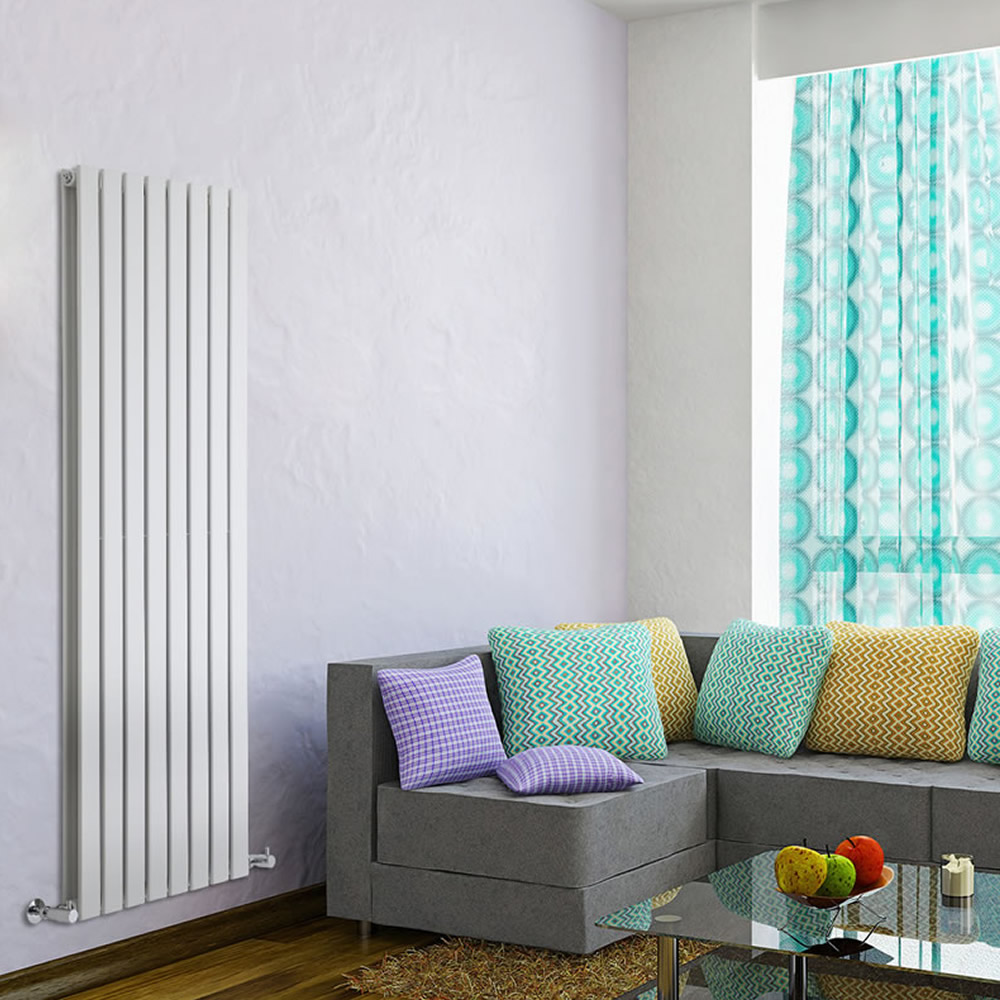 "Delta - White Vertical Double Slim-Panel Designer Radiator - 63"" x 22"""