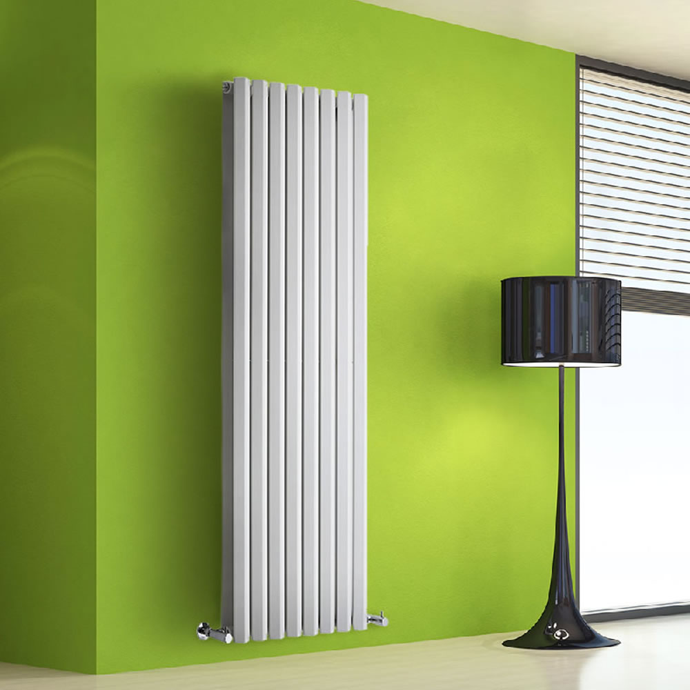 "Edifice - White Vertical Double-Panel Designer Radiator - 63"" x 22"""