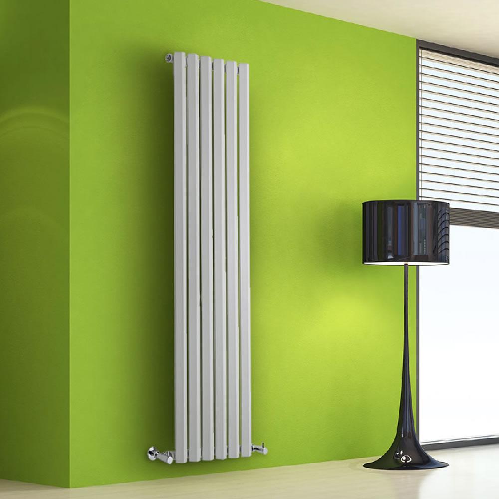 "Edifice - White Vertical Single-Panel Designer Radiator - 63"" x 16.5"""