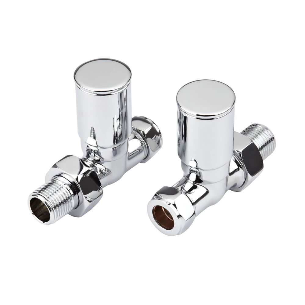Hudson Reed Minimalist Chrome Manual Straight Radiator Valves (Pair)
