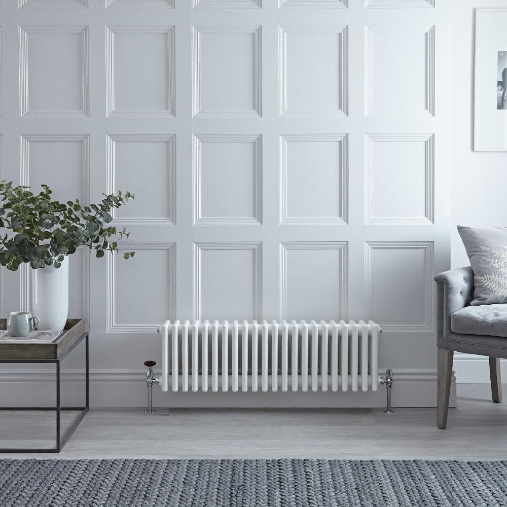 "Regent - White Horizontal 4-Column Traditional Cast-Iron Style Radiator - 11.75"" x 39"""