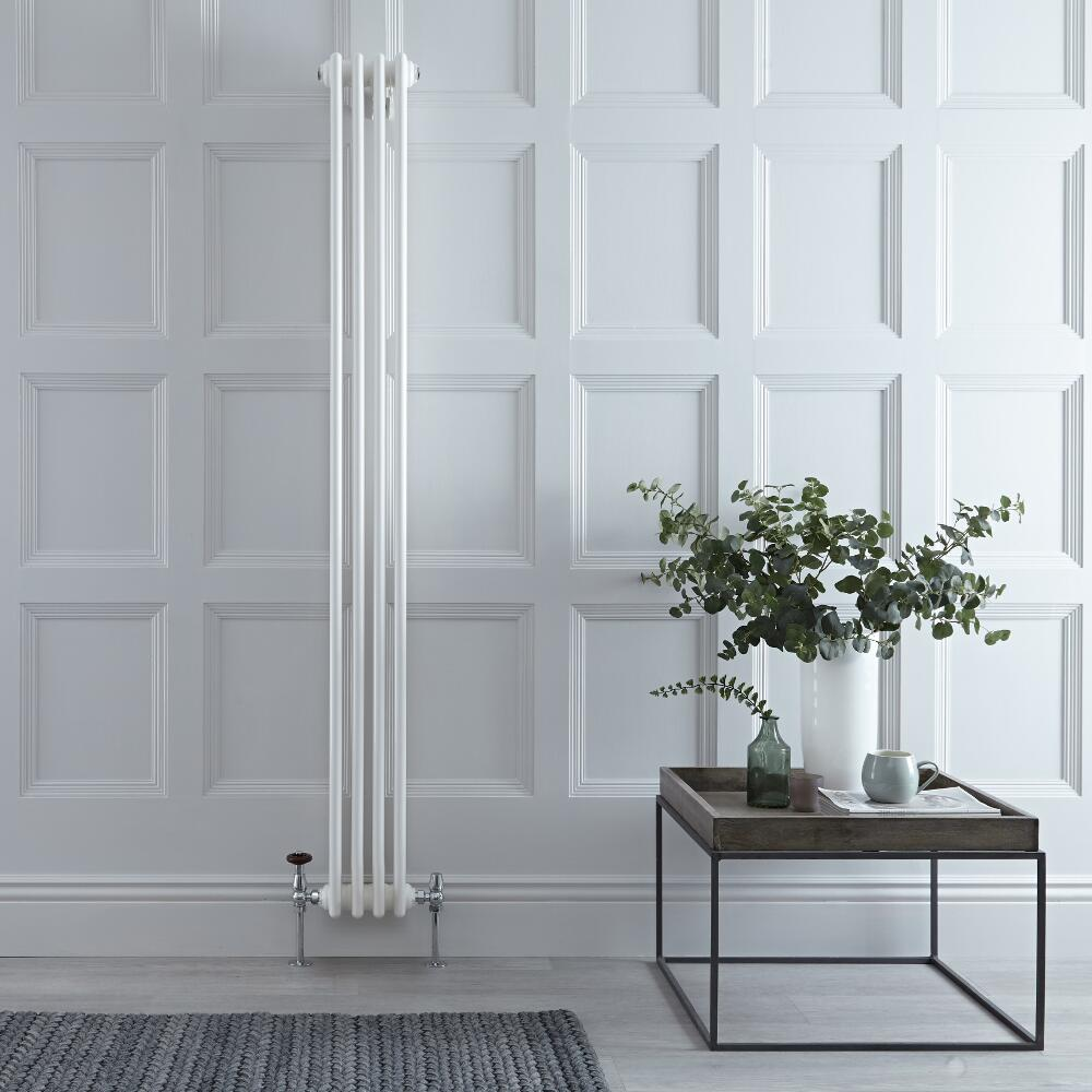 Regent - White Vertical 3-Column Traditional Cast-Iron Style ...