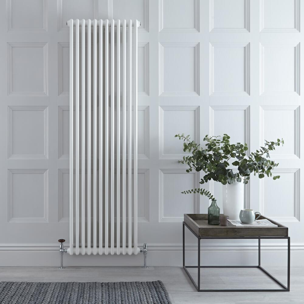 "Regent - White Vertical 2-Column Traditional Cast-Iron Style Radiator - 70.75"" x 22"""